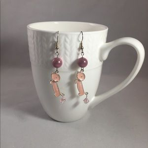 Pink sparkle dachshund earrings